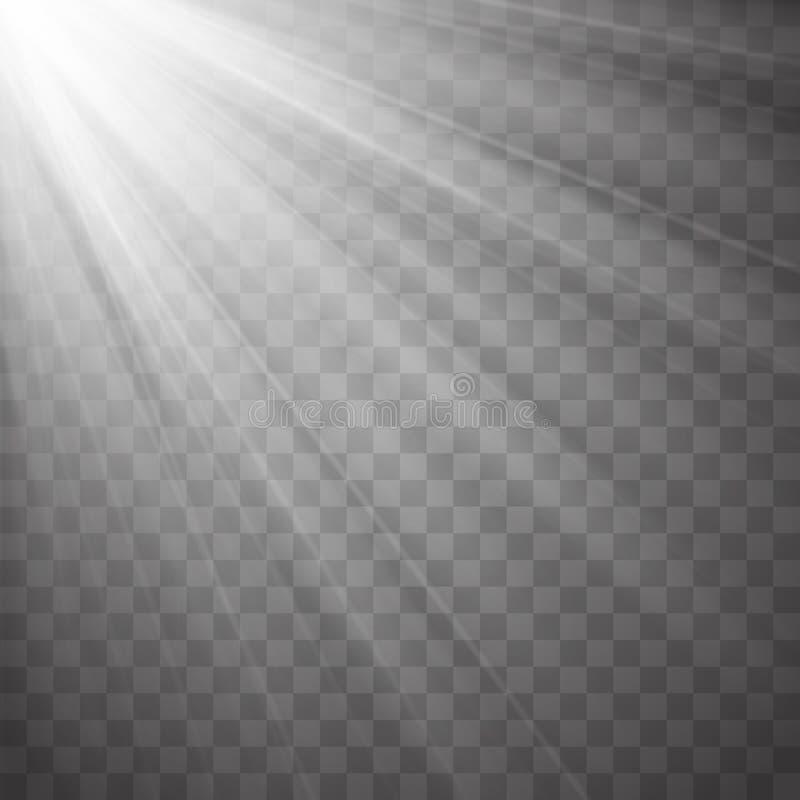 Ponga de relieve los rayos con los haces aislados en fondo transparente Vector ligero de destello libre illustration