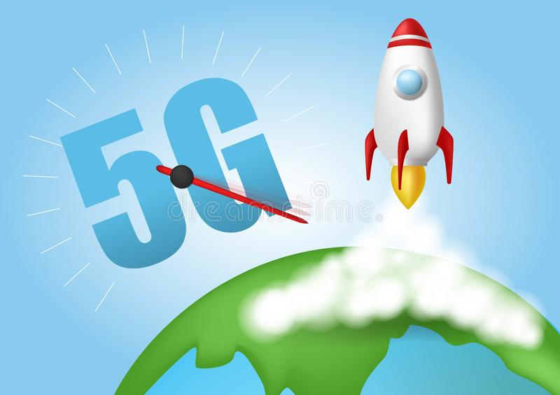 Ponga en marcha el cohete Nubes de humo Concepto de la velocidad de la red inal?mbrica, evoluci?n 5G Global en fondo azul Vector  libre illustration