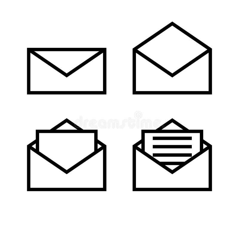 Ponga letras al sistema coloreado blanco y negro simple de los logotipos de las muestras de los iconos de los símbolos del sobre libre illustration