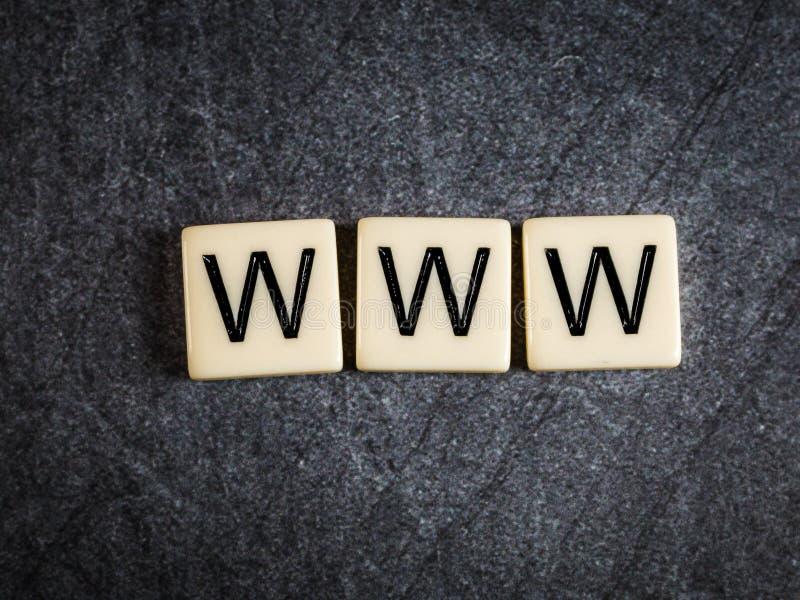 Ponga letras a las tejas en el fondo negro WWW de deletreo de la pizarra imagen de archivo