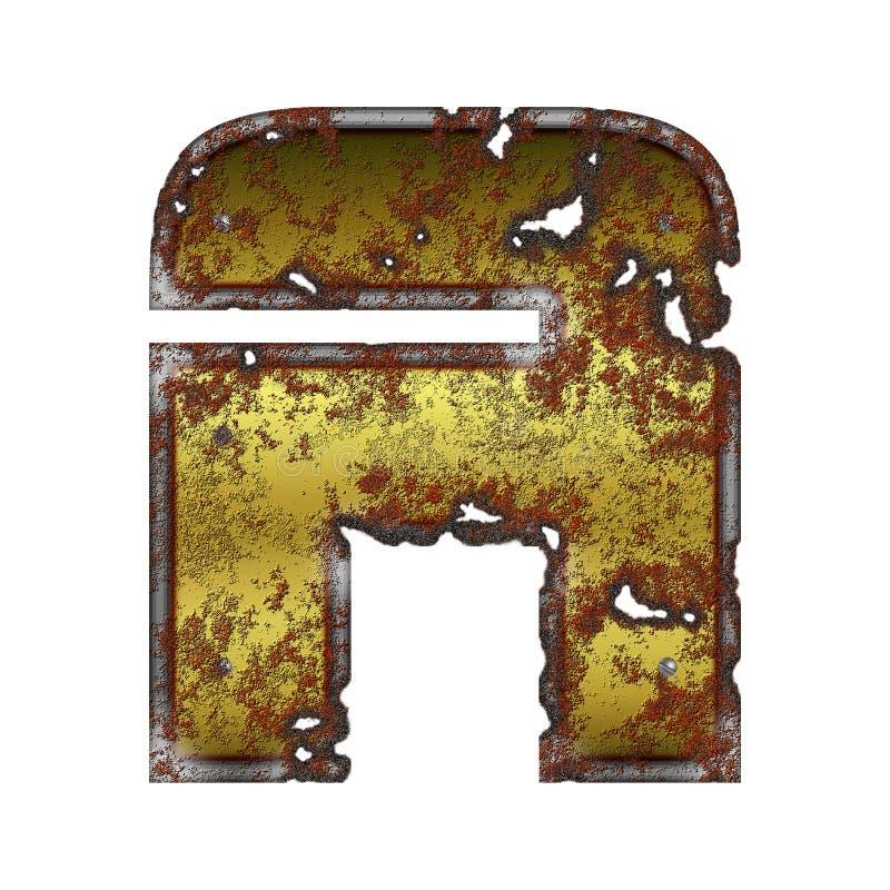 Ponga letras a un icono estilizado en el metal oxidado ilustración del vector