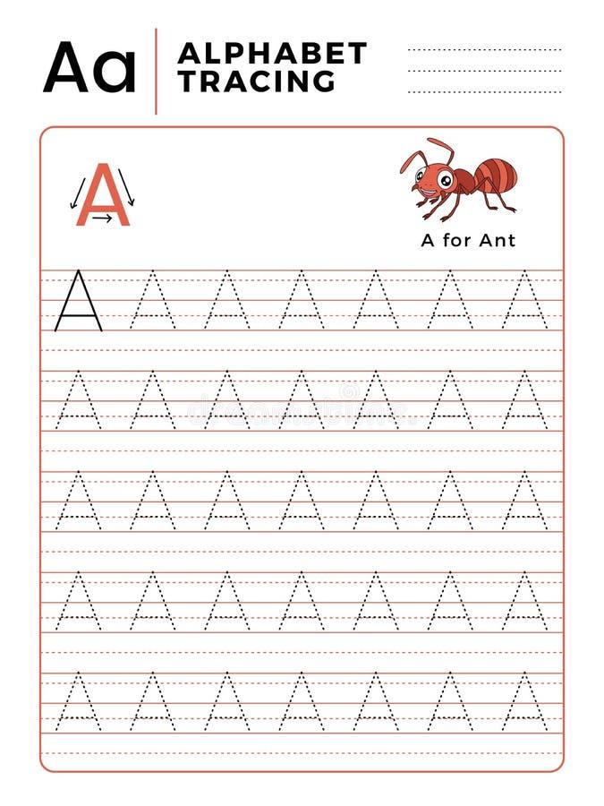 Ponga letras a un libro del trazo del alfabeto con ejemplo y Ant Insect Cartoon divertido Hoja de trabajo preescolar para practic ilustración del vector