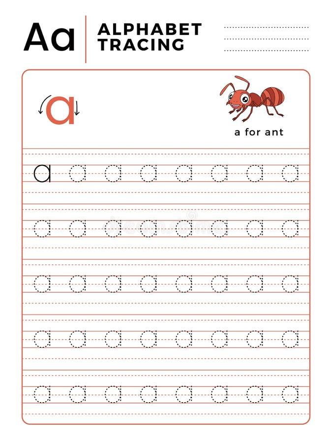 Ponga letras a un libro del trazo del alfabeto con ejemplo y Ant Insect Cartoon divertido Hoja de trabajo preescolar para practic libre illustration