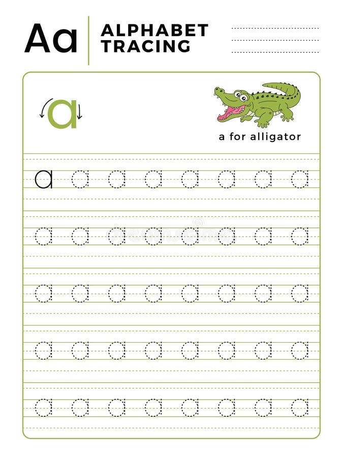 Ponga letras a un libro del trazo del alfabeto con ejemplo y la historieta divertida del cocodrilo del cocodrilo Hoja de trabajo  libre illustration