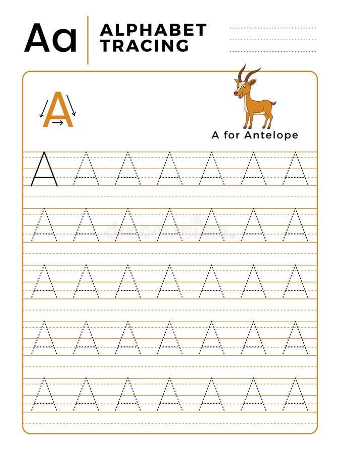 Ponga letras a un libro del trazo del alfabeto con ejemplo y la historieta divertida de los ciervos del antílope Hoja de trabajo  ilustración del vector