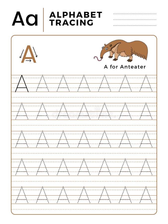 Ponga letras a un libro del trazo del alfabeto con ejemplo y la historieta divertida del oso hormiguero Hoja de trabajo preescola stock de ilustración
