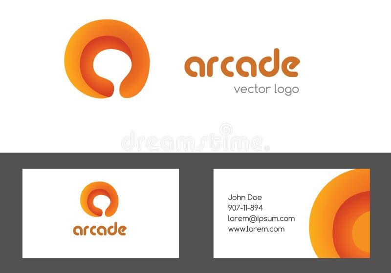 Ponga letras a una tarjeta del logotipo y de visita para diseñar Logotipo coloreado creativo multiusos Un diseño corporativo del  ilustración del vector