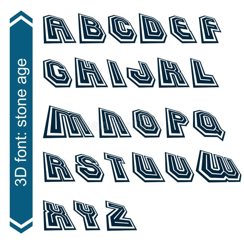 Ponga título al estilo retro, fuente técnica 3D, contemporánea ilustración del vector