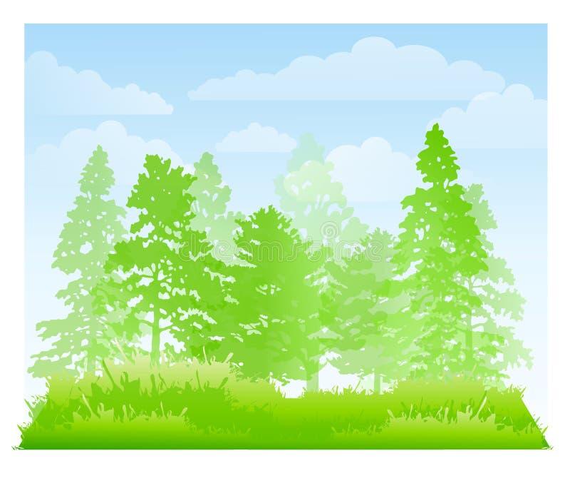 Ponga verde el fondo del bosque y de la hierba ilustración del vector