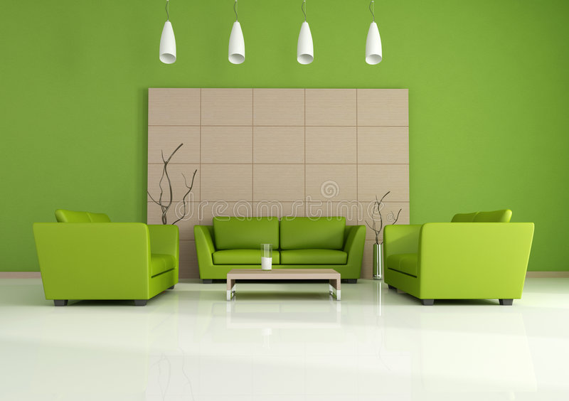 Ponga verde el interior moderno libre illustration