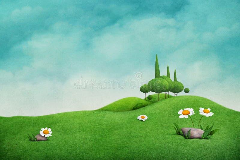 Ponga verde el paisaje del resorte ilustración del vector