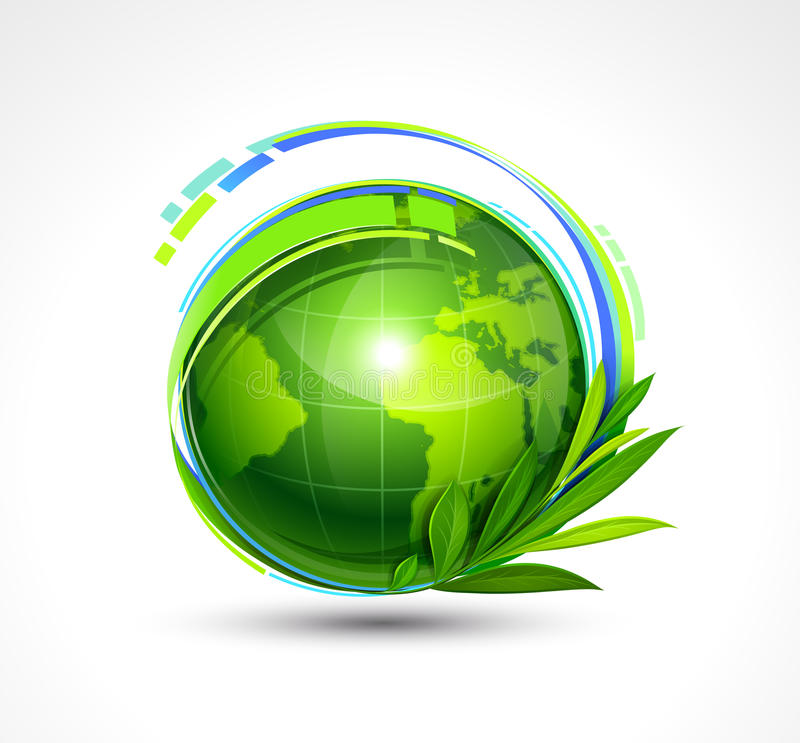Ponga verde el planeta ilustración del vector