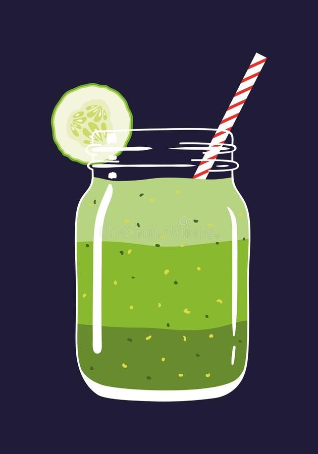Ponga verde el smoothie acodado en tarro de albañil con la rebanada del pepino y la paja remolinada Ilustración drenada mano del  libre illustration