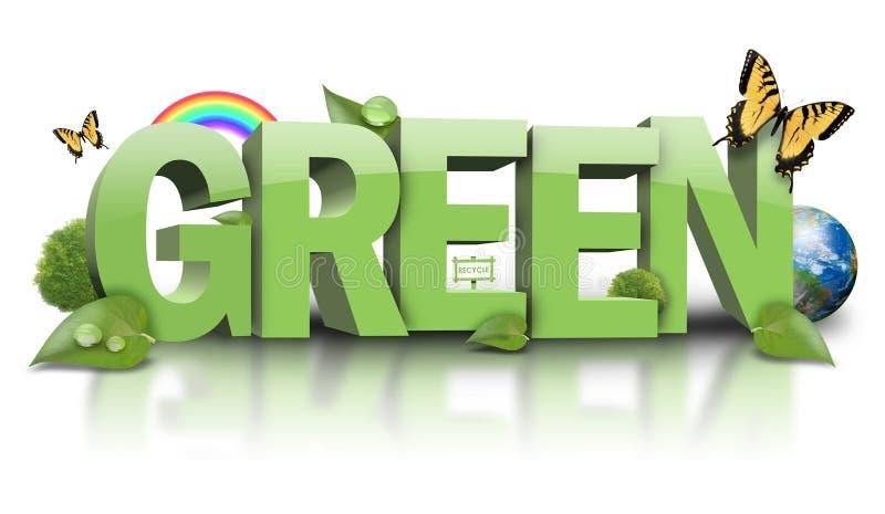 Ponga verde el texto de la hoja de la naturaleza en blanco ilustración del vector