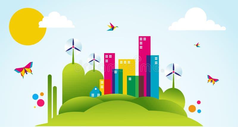 Ponga verde la ilustración del concepto del tiempo de resorte de la ciudad libre illustration