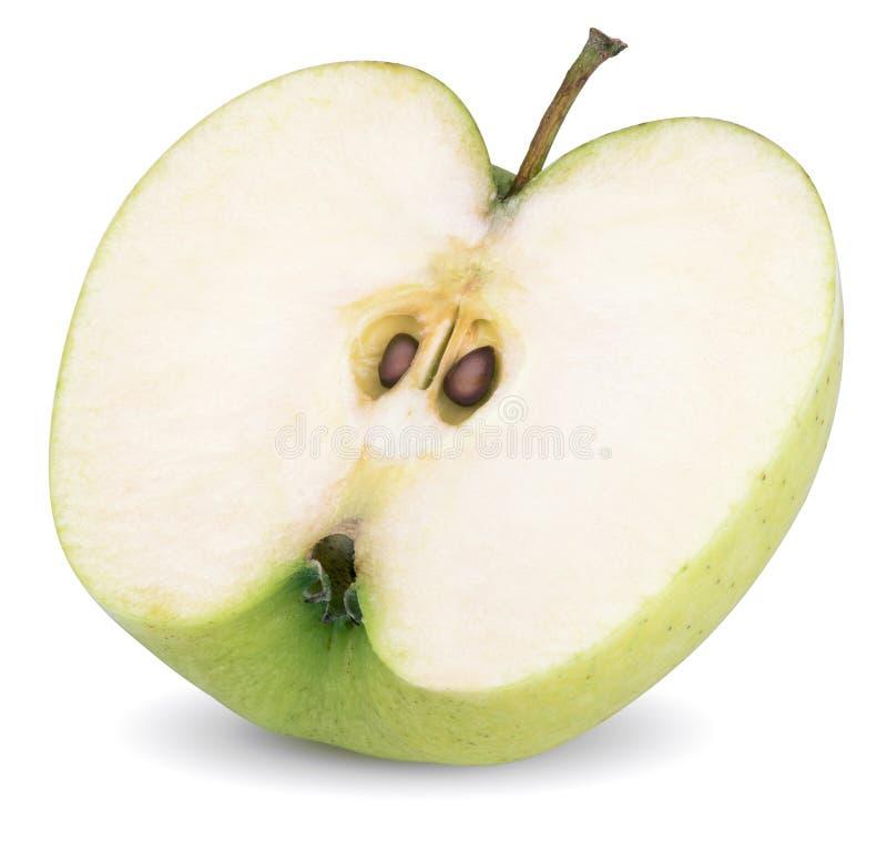 Ponga verde la mitad de la manzana fotos de archivo