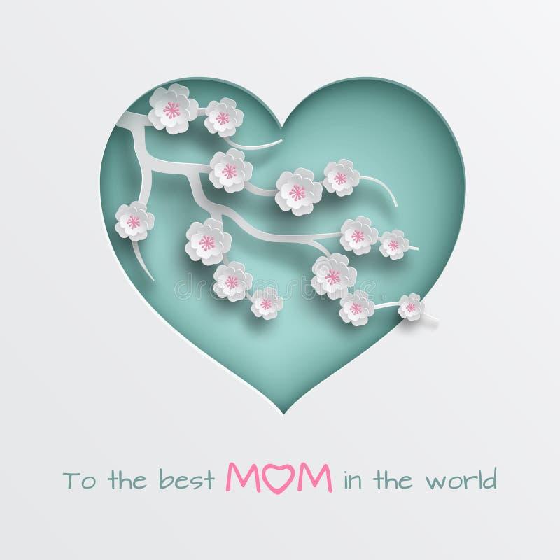 Ponga verde la rama adornada corazón cuted de las flores de la cereza en el fondo blanco para la tarjeta de felicitación del día  ilustración del vector