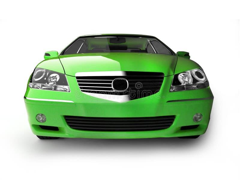 Ponga verde la vista delantera del coche deportivo fotos de archivo