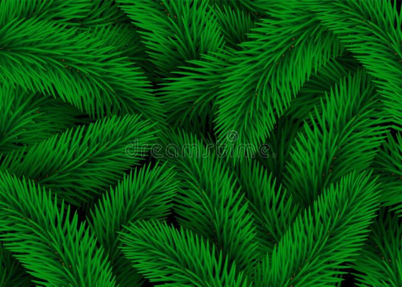 Ponga verde las ramificaciones de árbol de abeto Ejemplo del extracto de la textura del fondo de la Navidad del diseño ilustración del vector