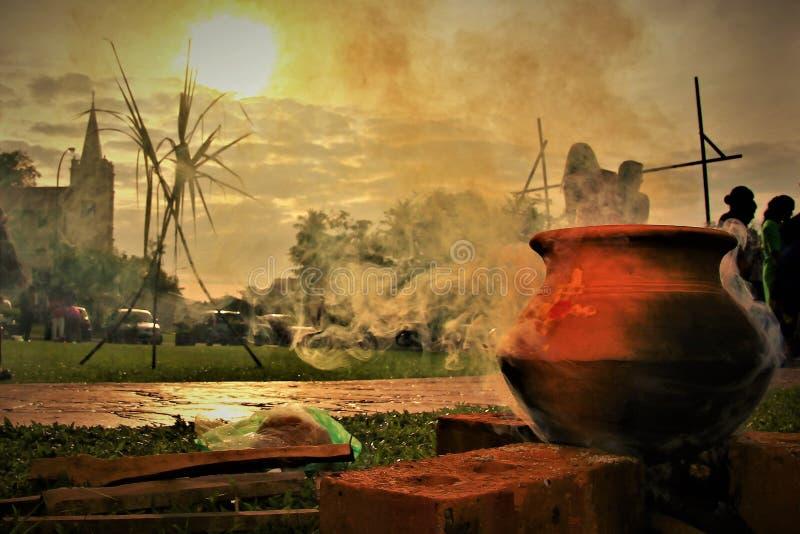 Pongal festiwalu żniwa festiwal dedykujący słońce bóg zdjęcie royalty free