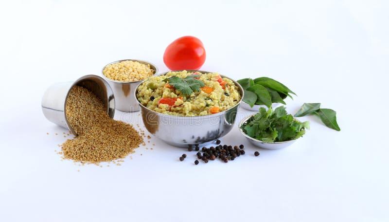 Pongal Południowy Indiański Jarski naczynie zrobił Używać brów składników i jagły obraz stock