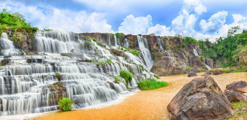 Pongour waterfall. Panorama royalty free stock images
