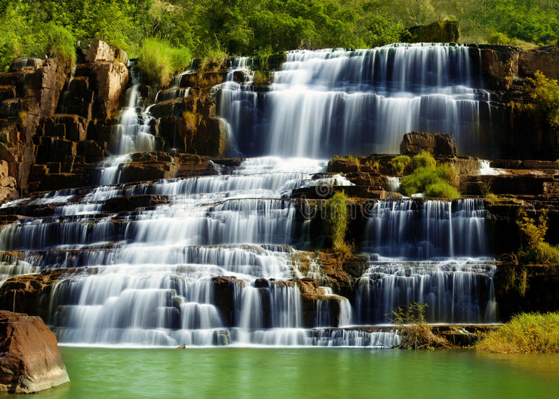 Pongour waterfall in Vietnam stock photos