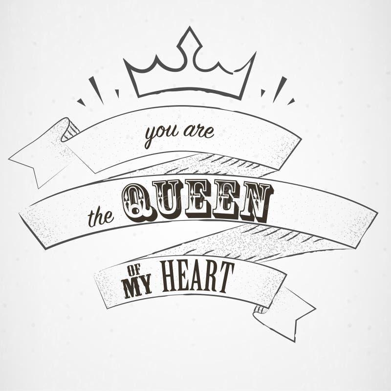 Poniéndole letras sea la reina de mi corazón en estilo del dotwork ilustración del vector