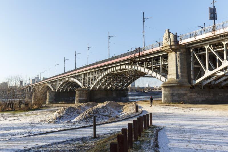 Poniatowski桥梁在华沙 库存图片