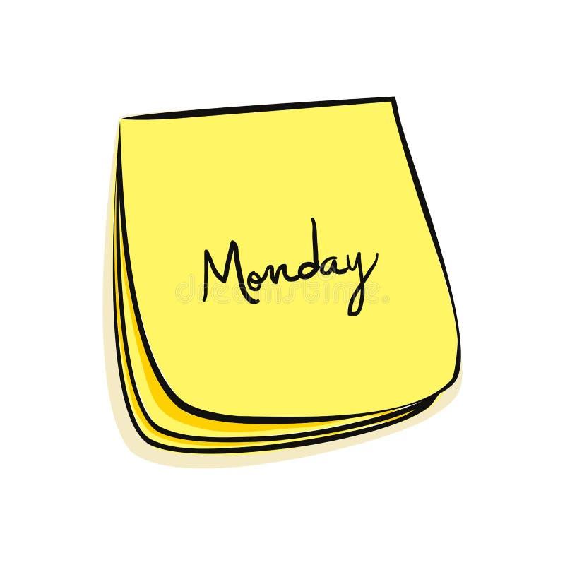 poniedziałek notatka royalty ilustracja