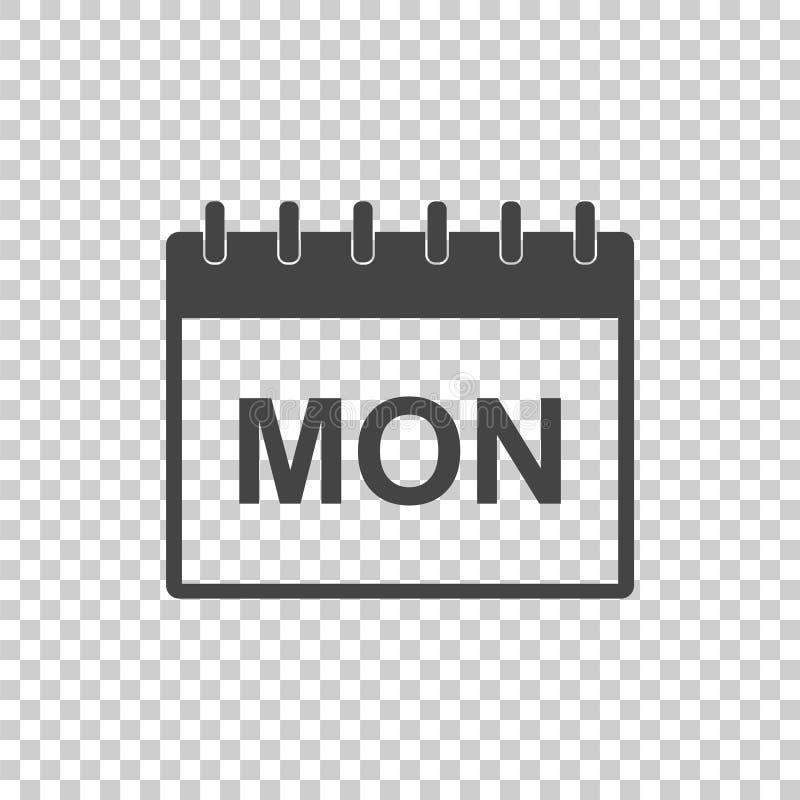 Poniedziałku kalendarza strony piktograma ikona Prosty płaski piktogram dla b ilustracji