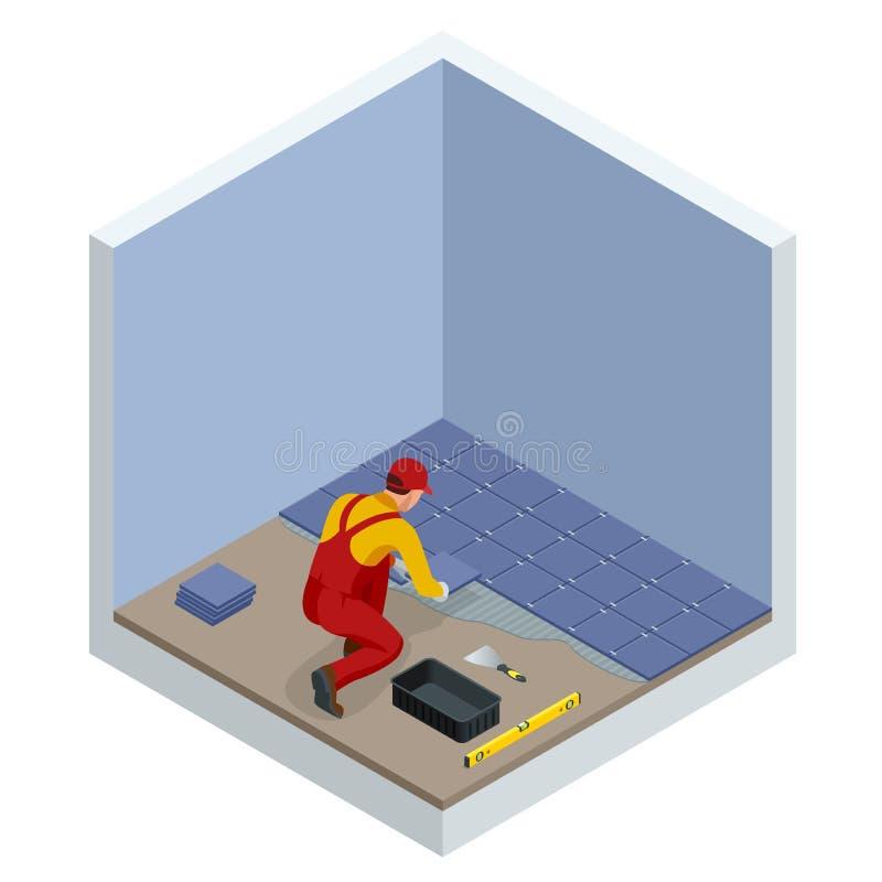 Poniendo las tejas en casa Trabajador que instala las pequeñas baldosas cerámicas en piso del cuarto de baño y que aplica el mort libre illustration