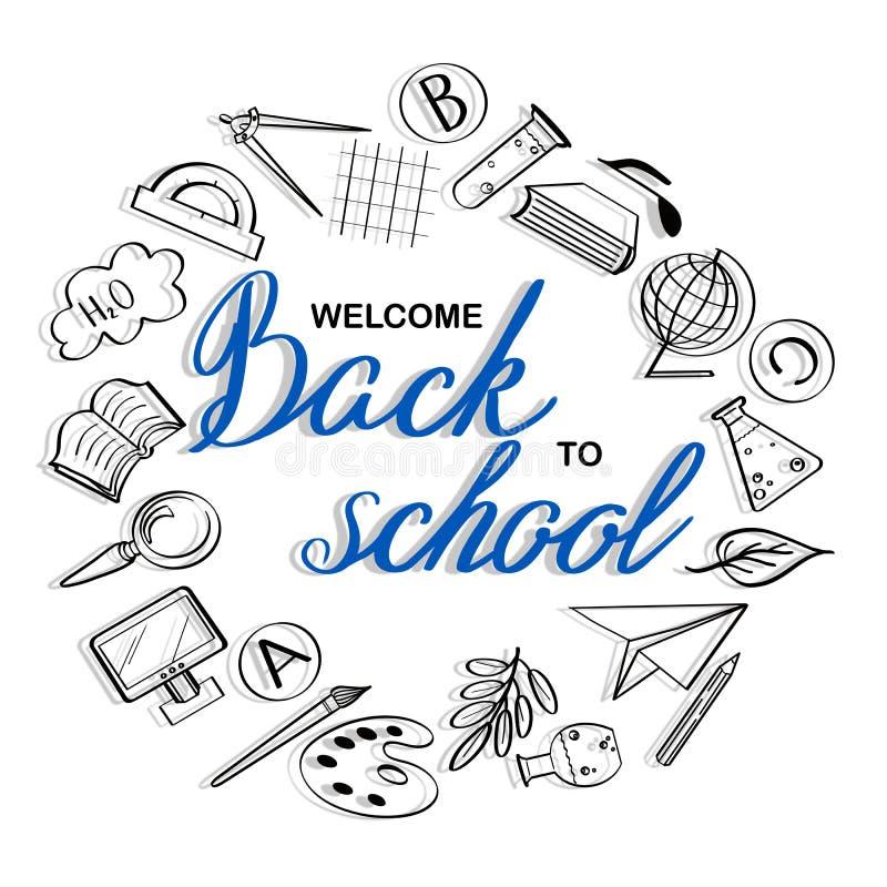Poniendo letras a la recepción de nuevo a bandera de escuela con textura de la línea iconos del arte de la educación, objetos de  ilustración del vector