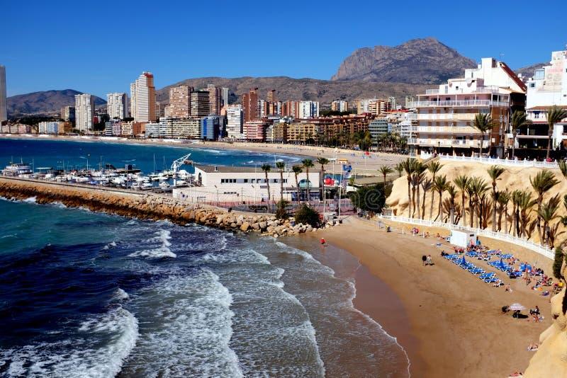Poniente plaża, Benidorm, Hiszpania obraz stock