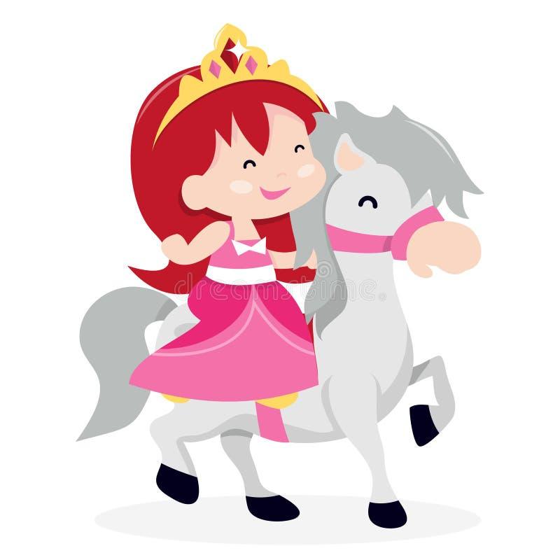 Ponny för prinsessa And Her Little stock illustrationer