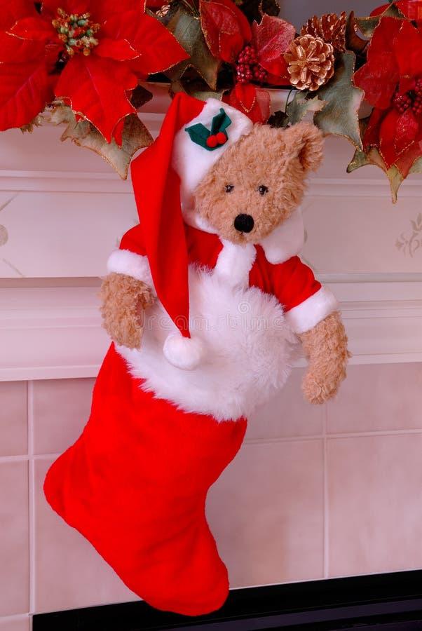 ponoszą bożego narodzenie Santa pończocha obrazy stock
