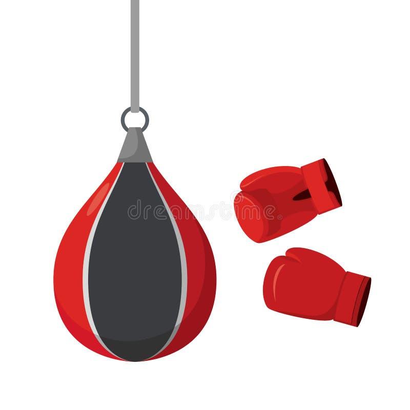 Ponsenzak en handschoenen Pogingen op sportuitrusting Opleiding vector illustratie