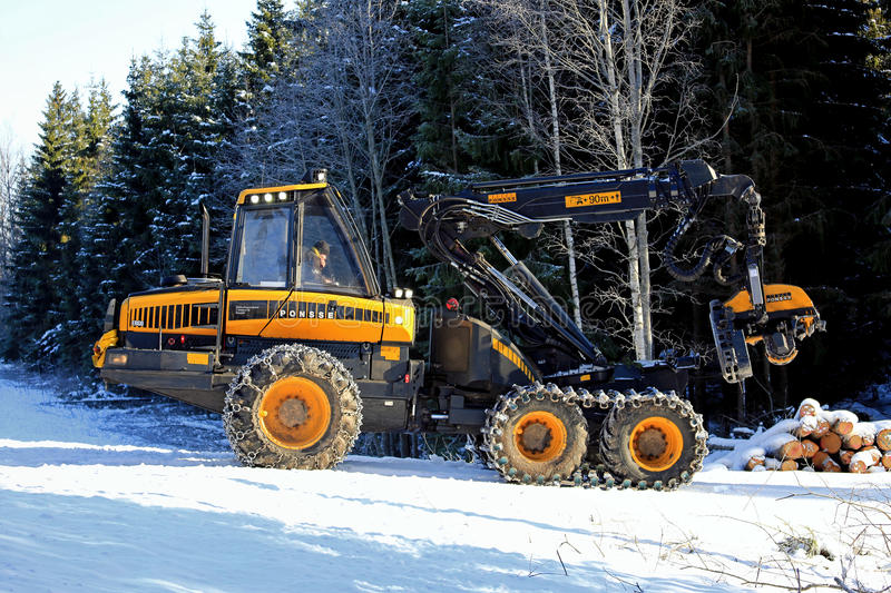 PONSSE Ergo Forest Harvester in Winter royalty free stock photography