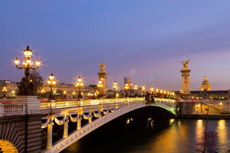 Pont亚历山大III桥梁 库存图片