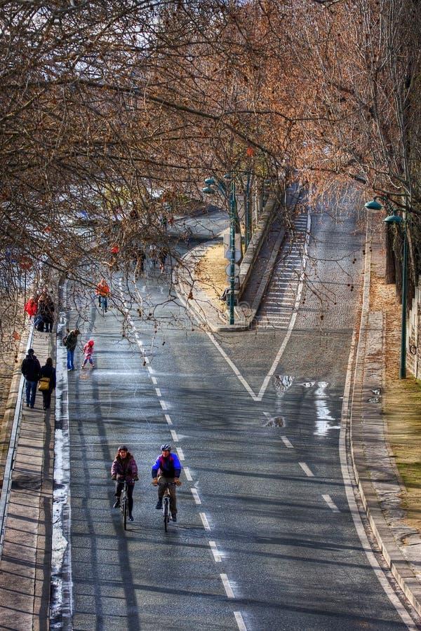 Pont的玛里骑自行车者 库存照片