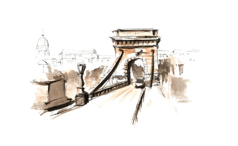 Pont à chaînes Budapes d'aquarelle d'illustration peinte à la main de croquis illustration de vecteur