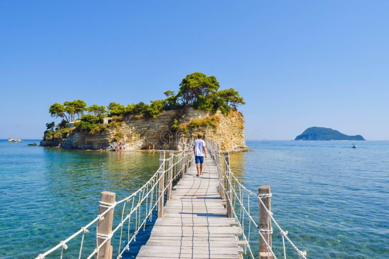 Pont à la petite camée d'île, Zakynthos, Grèce image libre de droits