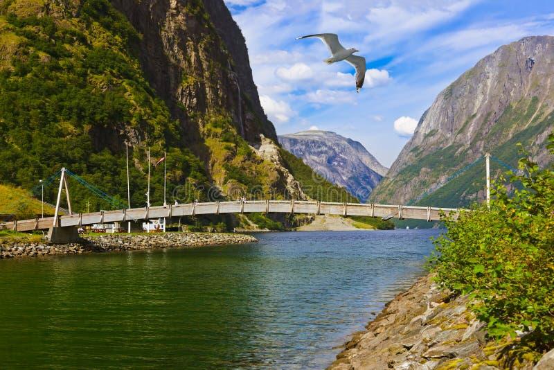 Pont à travers le fjord Sognefjord - Norvège photos stock