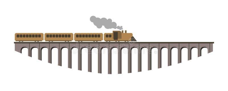 Pont énorme avec le long vieux train de vapeur de vintage illustration de vecteur