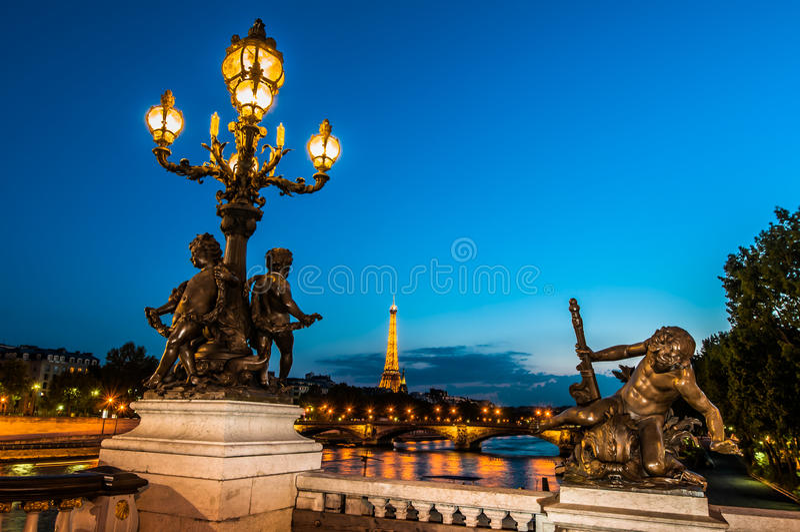 Pont Александр III городом Францией Парижа ночи стоковые изображения rf