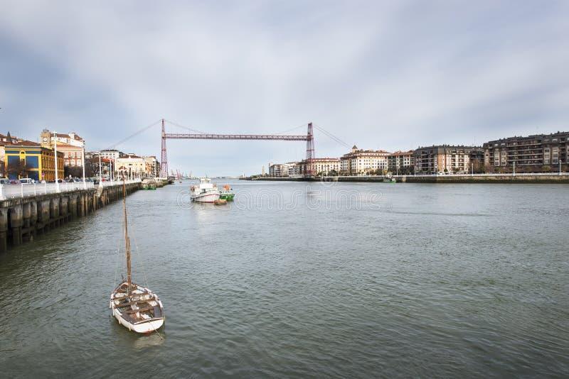 Pont accrochant à Portugalete et à Getxo, Bizkaia, Espagne. photographie stock