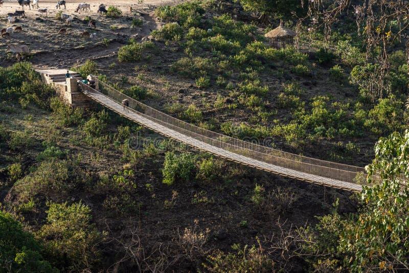 Pont accrochant au-dessus du Nil bleu en Ethiopie images libres de droits