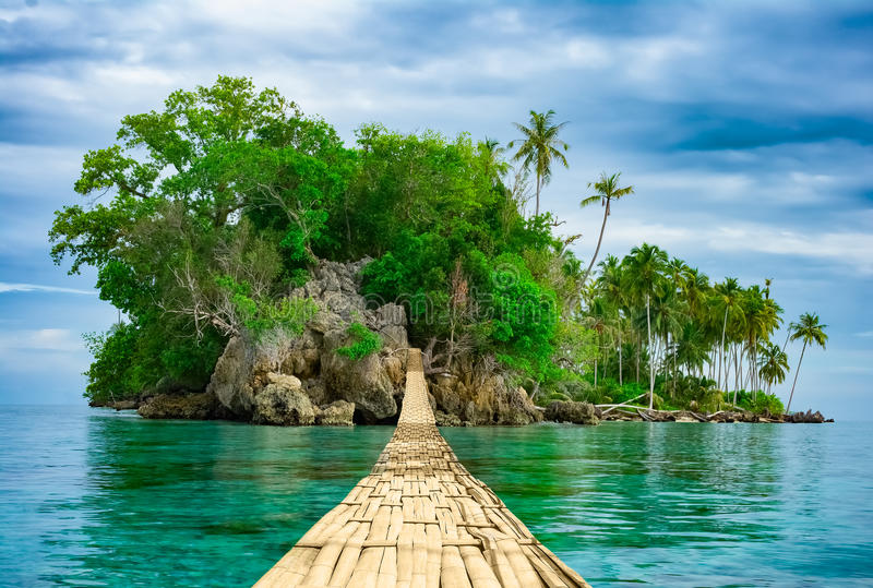 Pont accrochant en bambou au-dessus de mer vers l'île tropicale photo libre de droits