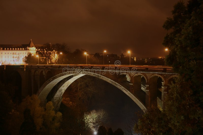 Download Pont-Adolphe, Luxembourg By Night Stock Photo - Image of building, europe: 7105058