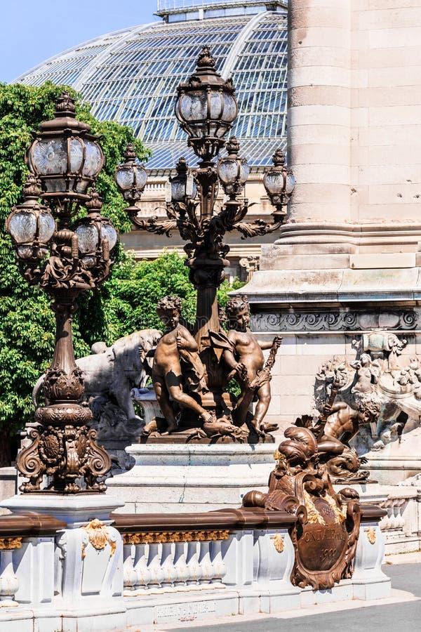 Pont Alexandre III Bridge details and Grand Palais. Paris, France royalty free stock images